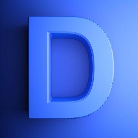 D alphabetic letter blue, isolated on blue background - 3D rendering illustration Banque d'images - 127984463