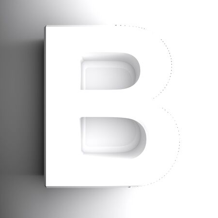 B alphabetic letter white, isolated on white background - 3D rendering illustration Banque d'images - 127984468