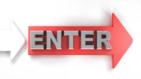 ENTER red arrow with metallic chromed write - 3D rendering illustration Banque d'images - 127984465