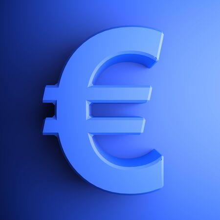 Blue Euro Symbol square icon - 3D rendering illustration Banque d'images - 127984473