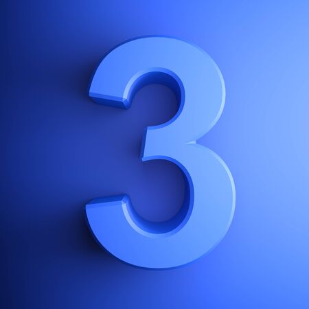 Blue number 3 square icon - 3D rendering illustration Фото со стока
