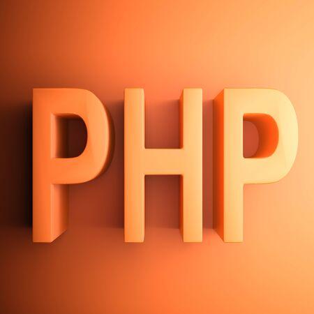Orange square PHP icon - 3D rendering illustration Banque d'images - 129758735