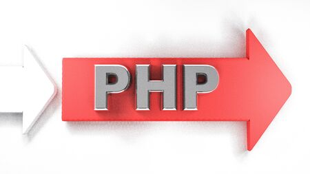 Red arrow with PHP write - 3D rendering illustration Banque d'images - 129758741