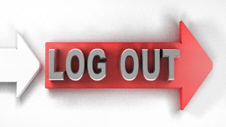 LOG OUT red arrow - 3D rendering illustration