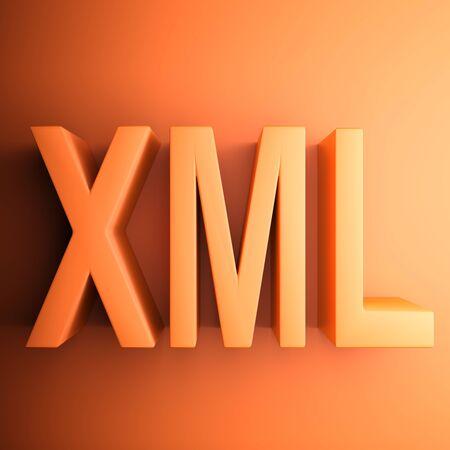 Orange square XML icon - 3D rendering illustration
