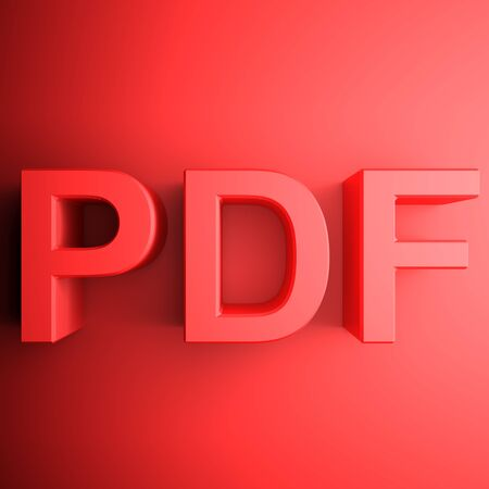 Red PDF square icon - 3D rendering illustration Banque d'images - 127984447