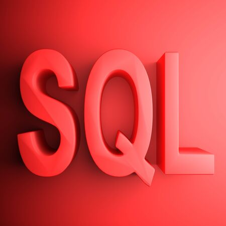 Red SQL square icon - 3D rendering illustration