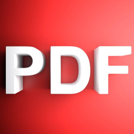 Red and white PDF square icon - 3D rendering illustration