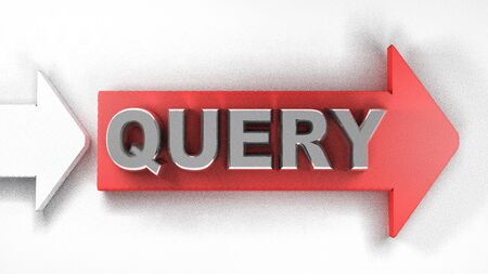 Red arrow QUERY - 3D rendering illustration