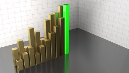 Bar chart brass and green - 3D rendering illustration