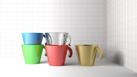 Colored coffee cups on white background - 3D rendering illustration