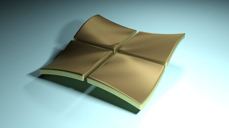 Waving brass squares background - 3D rendering illustration 写真素材