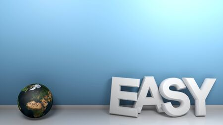 EASY leaning at blue wall - 3D rendering illustration 写真素材