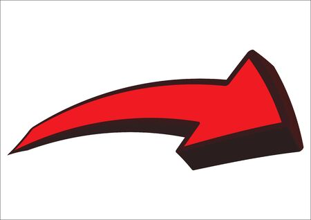 Extruded and deformed - a red arrow with black border, pointing to the right, isolated - vector