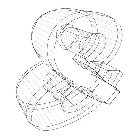 Ampersand wireframe symbol on white background - Vector