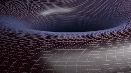 Black hole background with gravitational field lines - 3D rendering illustration