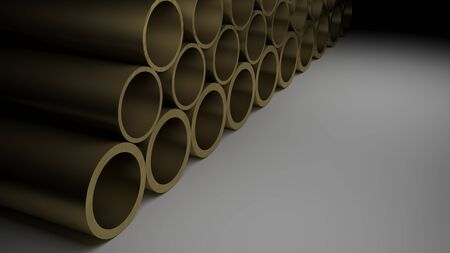 A series of metallic brass tubes on a glossy black surface - 3D rendering illustration 写真素材
