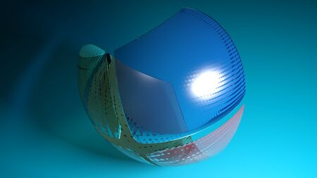 Abstract spherical multicolored glass object flying over a blue surface - 3D rendering illustration