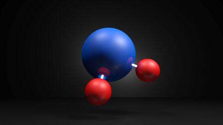 H2O Molecule model on black background - 3D rendering illustration