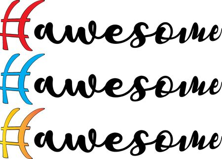 Hashtag awesome write set - vector