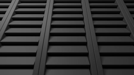 Abstract background with black shutters windows - 3D rendering illustration Stock Photo