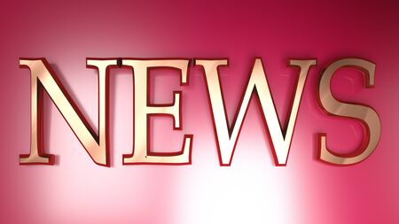 NEWS in copper letters on red metallic surface - 3D rendering illustration Stok Fotoğraf