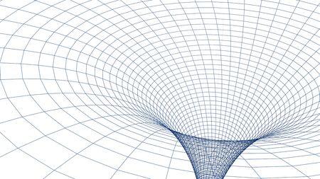 Black hole in wireframed blue grid - 3D rendering illustration