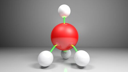 Structure model of CH4 (Methane) molecule - 3D rendering illustration