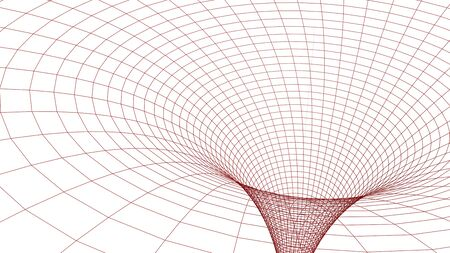 Black hole in wireframed red grid - 3D rendering illustration Stock Photo
