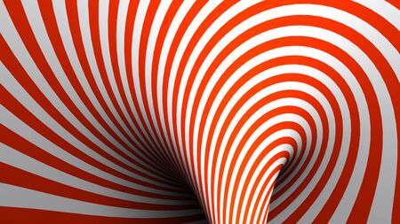 Red and White spiral background - 3D rendering illustration