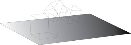 Wireframed cubes rolling on shaded surface - vector