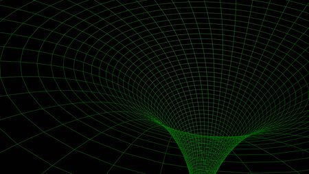 Black hole in wireframed green grid - 3D rendering illustration Stock Photo