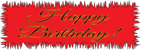 Red stretched card with Happy Birthday message - Vector