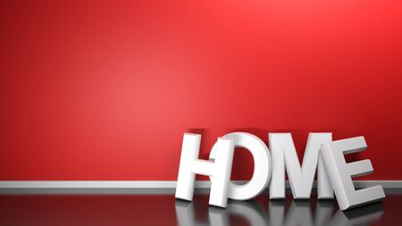 HOME write leaning at red wall - 3D rendering illustration