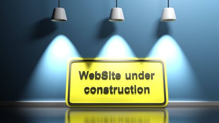 WebSite under construction sign at blue illuminated wall - 3D rendering illustration