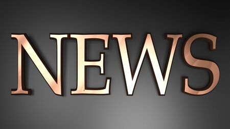 NEWS in copper letters on black glossy surface - 3D rendering illustration
