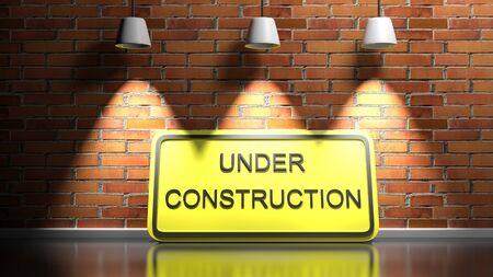 Under construction sign at red brick illuminated wall - 3D rendering illustration