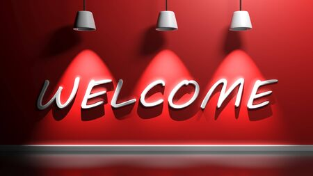 WELCOME white write at a red wall with three lamps - 3D rendering illustration
