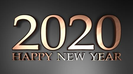 2020 Happy New Year copper write on black background - 3D rendering illustration