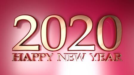 2020 Happy New Year copper write on metallic red background - 3D rendering illustration