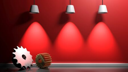 Red illuminated wall background with gears - 3D rendering illustration Stock Photo
