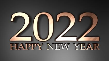 2022 Happy New Year copper write on black background - 3D rendering illustration