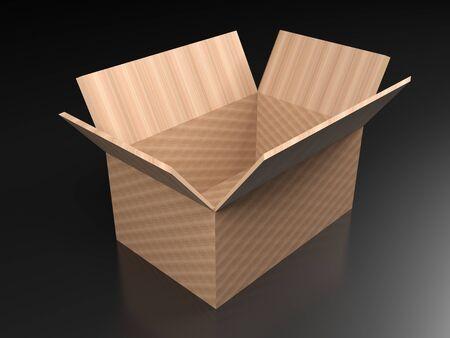 Open cardboard box on black floor - 3D rendering illlustration