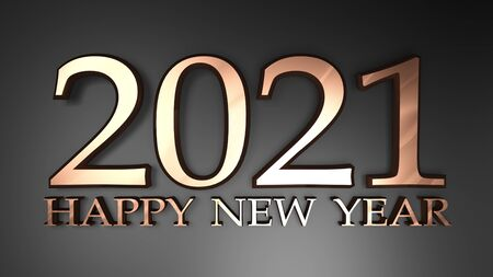 2021 Happy New Year copper write on black background - 3D rendering illustration Stock Photo
