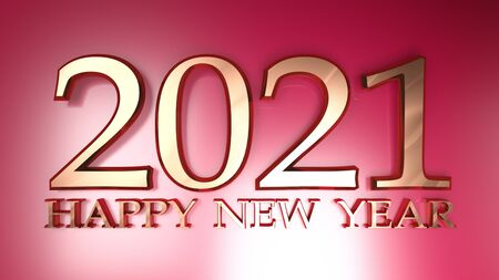 2021 Happy New Year copper write on metallic red background - 3D rendering illustration