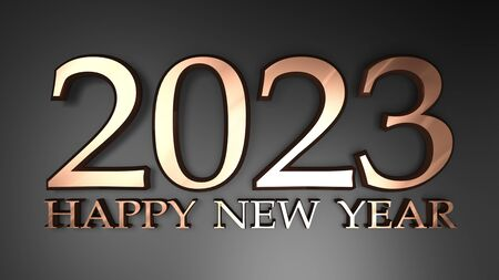 2023 Happy New Year copper write on black background - 3D rendering illustration