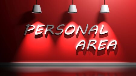 PERSONAL AREA write hanging at the wall - 3D rendering illustration Stock Photo