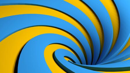 blue and orange spiral background - 3D rendering illustration