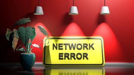 Gelbes Schild NETWORK ERROR, an eine rot beleuchtete Wand gelehnt - 3D-Rendering-Darstellung