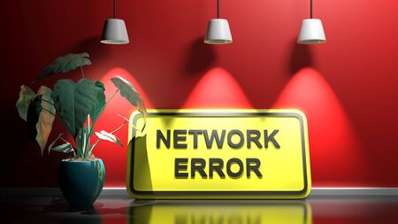 Yellow sign NETWORK ERROR, leaning at a red illuminated wall - 3D rendering illustration